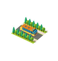Isometric front right view bus vector