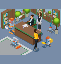 Isometric office of future concept vector