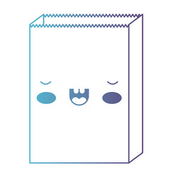 kawaii paper bag in degraded blue to purple color vector image