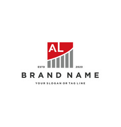 Letter al chart financial logo design vector