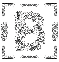 Letter B floral ornament EPS10 vector image
