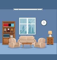 living room sofa bookcase table lamp window clock vector image