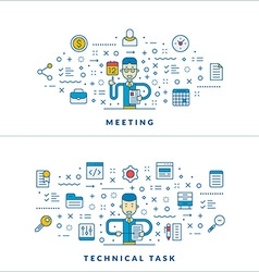 Meeting Technical task Flat line icons and vector