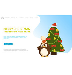 merry christmas and happy new year web page online vector image