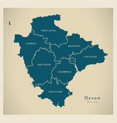 Modern map - devon county with detailed districts vector