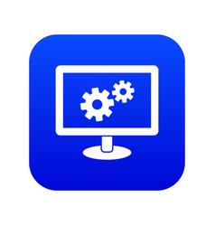 Monitor settings icon digital blue vector