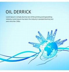 Oil derricks vector image