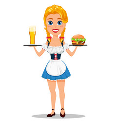 oktoberfest with sexy redhead girl holding glass vector image vector image