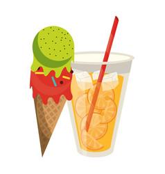 orange juice cup and ice cream cone cartoon vector image