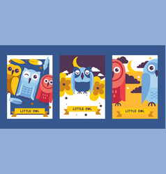 owl birthday cards cute vector image