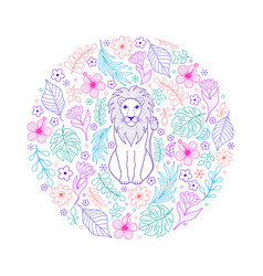 pattern with lion and tropical flowers vector image