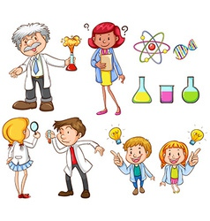 People doing different science activities vector image