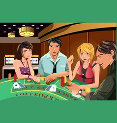people gambling in casino vector image