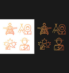 People of canada gradient icons set for dark vector