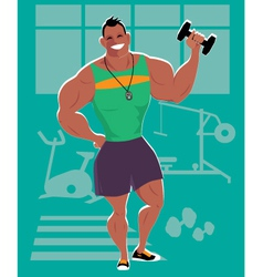 Personal trainer at the gym vector