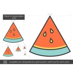 Piece of watermelon line icon vector