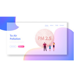 pm 25 dust smoke and smog emission landing page vector image