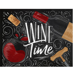 poster wine time black vector image