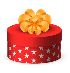 present in rounded box with star print wrapping vector image