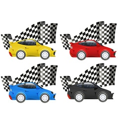 Racing cars in four colors vector