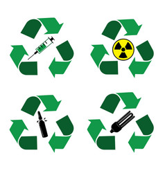 Recycle waste bins icons vector