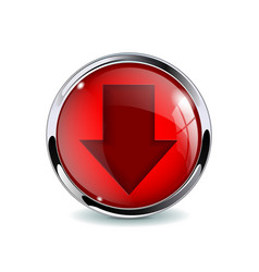 Red 3d button with down arrow vector
