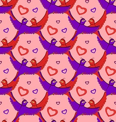 Salmon birds hearts pattern vector