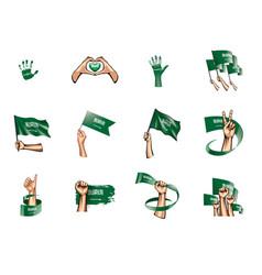 Saudi arabia flag and hand on white background vector