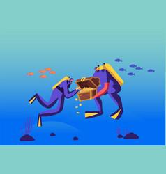 scuba divers found sunken treasure chest with gild vector image