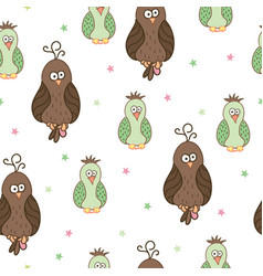 seamless pattern with cute cartoon birds vector image