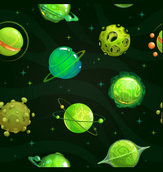 seamless pattern with fantasy green planets on vector image
