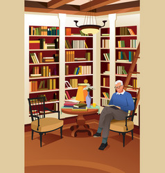 senior man reading a book in the library vector image