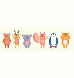 set cute animals wildlife cartoon characters vector image