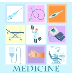 Set health medicine vector