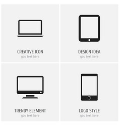 set of 4 editable gadget icons includes symbols vector image