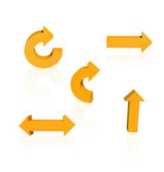set of orange arrows vector image