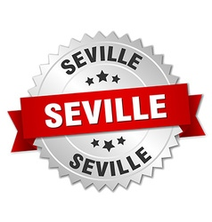 Seville round silver badge with red ribbon vector