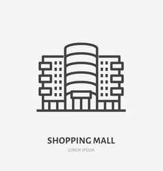 shopping mall flat line icon thin sign of vector image
