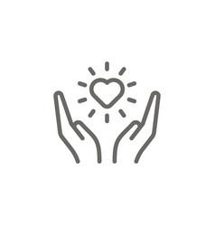 Soul arms heart symbol icon spiritual concept vector