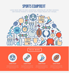 Sport equipment concept in half circle vector