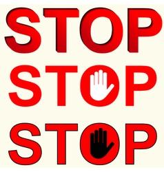 Stop inscriptions set vector
