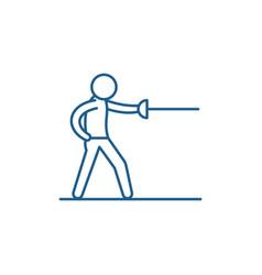 Swordsman line icon concept swordsman flat vector