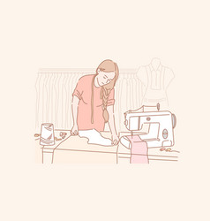 Tailor dressmaking sewing concept vector
