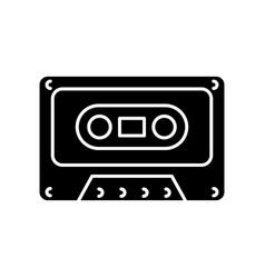 tape cassette black glyph icon vector image