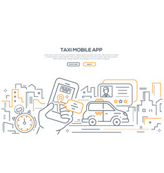 taxi mobile app - modern line design style banner vector image