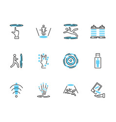Teleporting transportation icon collection set vector