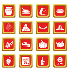 thanksgiving icons set red vector image