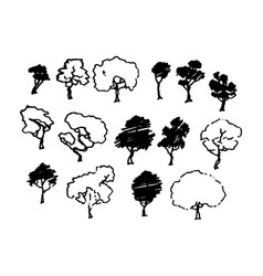 Trees sketch set cartoon vintage ink draw vector