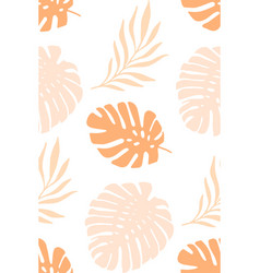 tropical palm leaves seamless pattern pink vector image