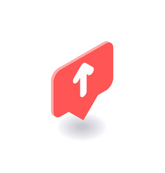 up arrow icon symbol in flat isometric 3d vector image